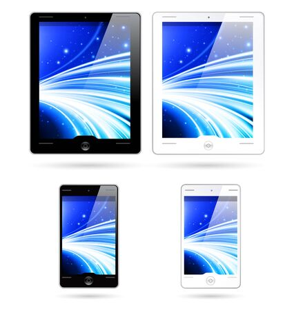 touchscreen tablet computers, mobile phones - icons, isoalted, black and white colors, with abstract blue background on a display Vector
