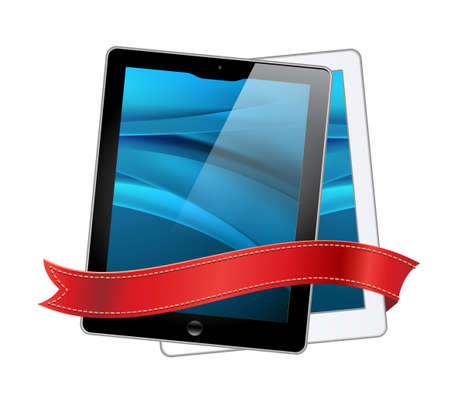 vector tablet computers icons and red ribbon Stock Photo - 9950709