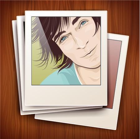 vintage picture frame: vintage image frame with a portrait on a wooden background Illustration