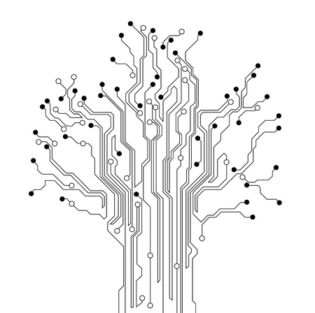motherboard: circuit board tree background