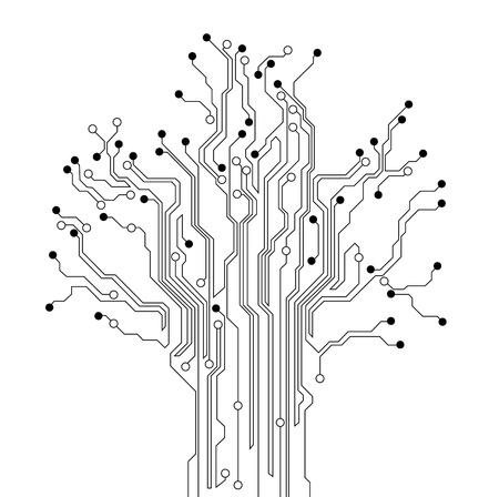 circuitboard: sfondo di albero di circuito stampato Vettoriali
