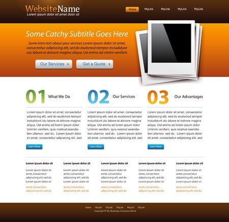 internet page site: modern orange website creative template with old photo frame illustration - blue, green color accents