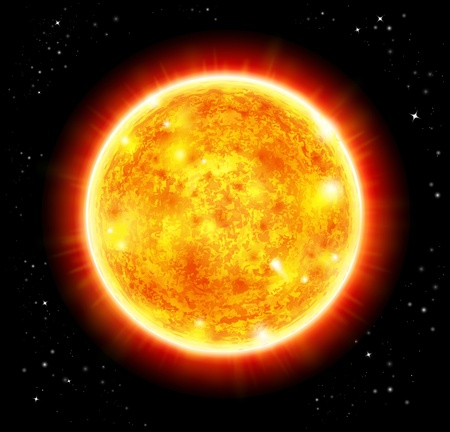słońce: sun in a space background