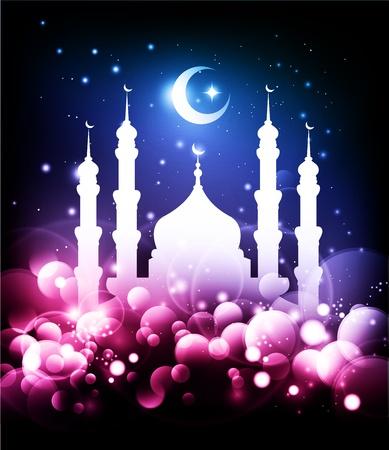 Moslim achtergrond - Ramadan nacht met moskee en maan Stock Illustratie