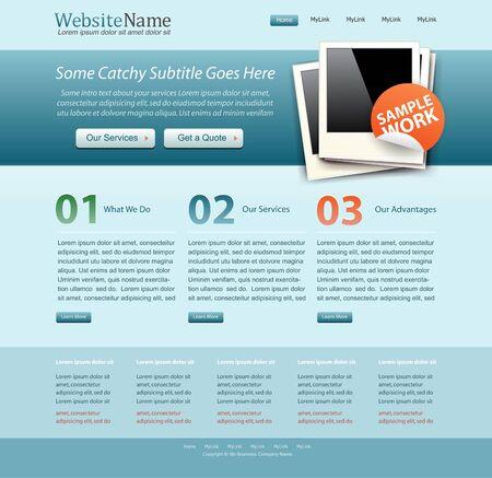 blue business website template Vector