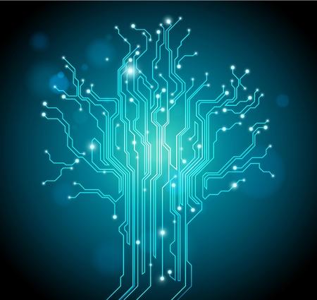 circuitos electronicos: fondo verde placa �rbol - vector idea creativa