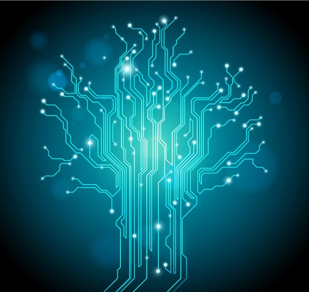 electronic board: green circuit board tree background - creative idea vector