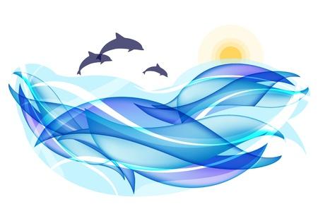Zomer achtergrond met oceaan golven en dolfijnen Stock Illustratie