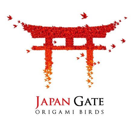 japan culture: Japan origami gate Torii shaped from flying birds Illustration