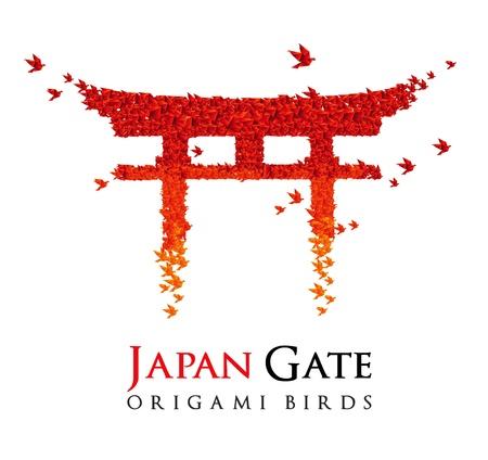 Japan origami poort Torii vormige van vogels vliegen Stock Illustratie