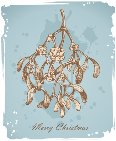 muerdago: Fondo de Navidad Vintage con muérdago - dibujado a mano