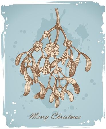 Vintage christmas achtergrond met Maretak - Hand getrokken Stock Illustratie