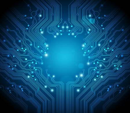 electronic circuit: blue circuit board vector background