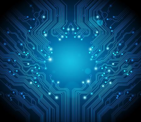 circuitos electricos: Fondo de vector de placa azul