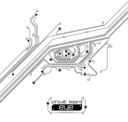 circuitboard: sfondo occhio circuito stampato Vettoriali