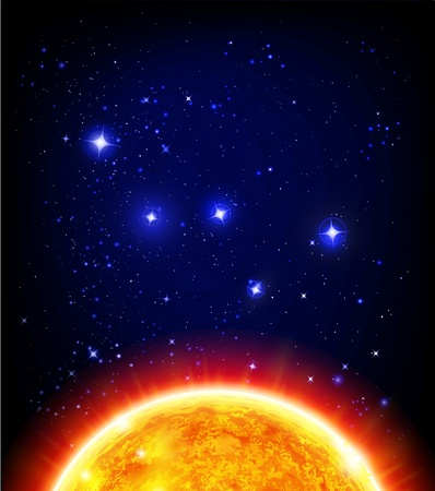 vector space background - sun, starry night sky, Cassiopeia  W constellation Vector