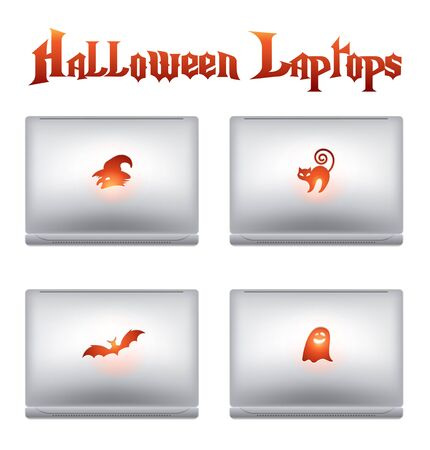 Halloween creative design elements - computers  laptops with Halloween symbols on a backside - witch, bat, cat, ghost - Great for designers, programmers, IT team, all modern people Vector