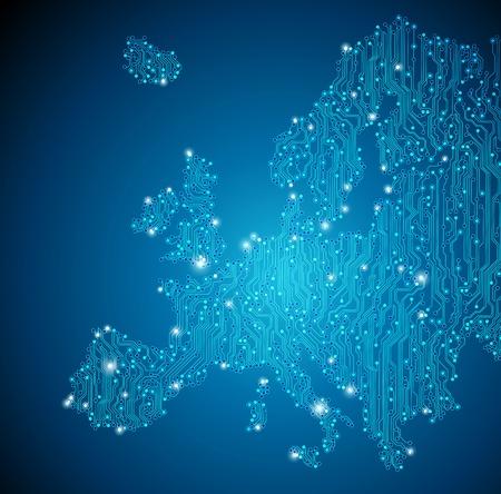 유럽: 유럽지도 - 회로 보드 배경