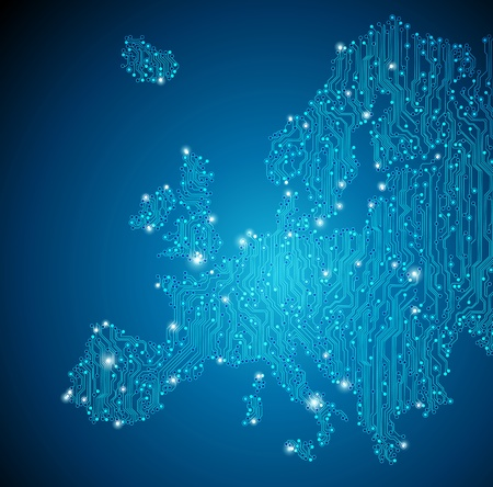 integrated: Europe map - circuit board background Illustration
