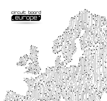 motherboard: circuit board europe map background