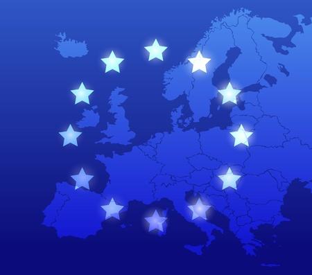 ヨーロッパの地図および旗の背景