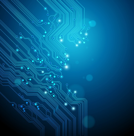 electronic board: circuit board blue background Illustration
