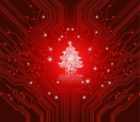 christmas red background with circuit board texture - creative card for creative IT people