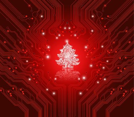 fiestas electronicas: Navidad fondo rojo con placa de circuito textura - tarjeta creativo para la gente de TI creativas