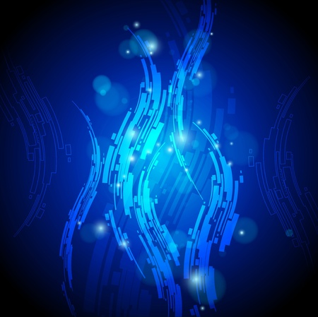 abstract blue background with high tech wavy shapes