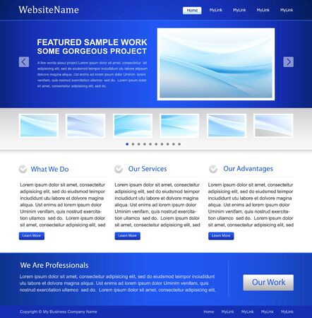 blue business website template design Stock Vector - 11002309
