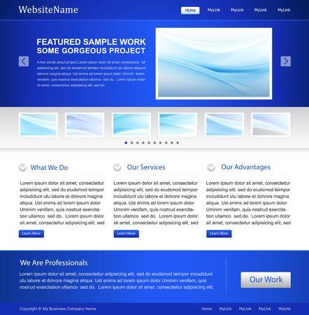 blue business website template design Stock Vector - 11002309