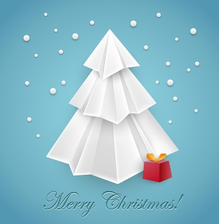 Awesome Christmas tree origami greeting card design - vector Vector