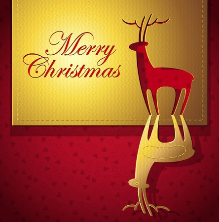 Christmas creative design with Christmas deer cut out paper art - vector illustration Vector
