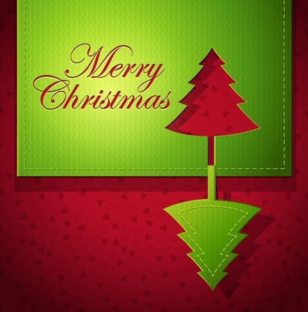 Christmas creative design with Christmas tree cut out paper art - vector illustration