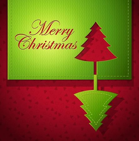 Kerst creatief ontwerp met kerstboom uitgeknipt papier kunst - vector illustratie