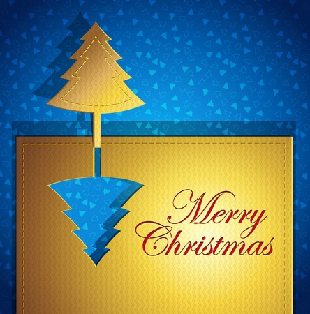 Creative Christmas greeting card - paper art origami with Christmas tree - blue and gold colors - vector illustration