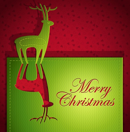 Christmas creative greeting card design with Santa's Deer - Vector illustration paper art origami