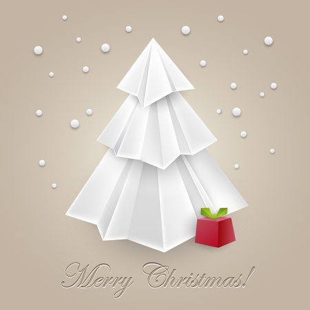 Christmas tree paper art origami for your creative design - web and print - vintage styled vector illustration Vector
