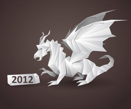 dragon origami detailed vector illustration Vectores