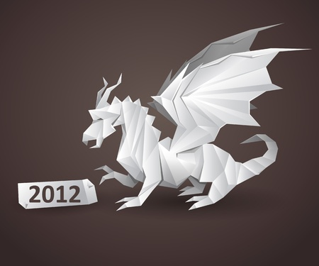dragon origami detailed vector illustration Illustration