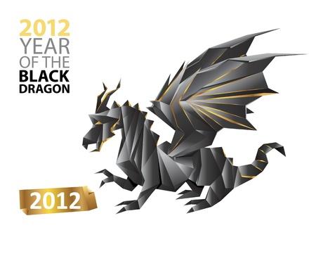 zwarte draak - symbool van 2012 jaar - geïsoleerde origami papier kunst - vector illustratie