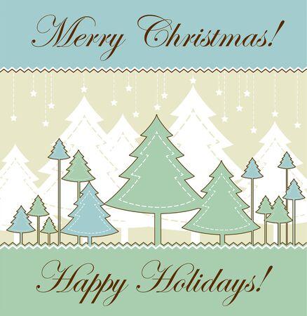 vintage Christmas card - retro style vector illustration Vector