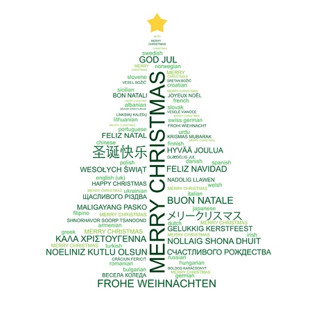 merry christmas banner: Christmas tree shaped from letters - Merry Christmas in different languages - creative typographic composition - vector