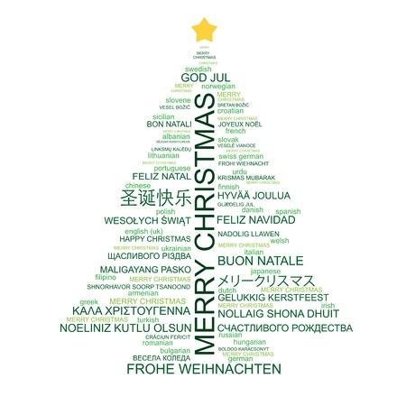Árbol de Navidad en forma de cartas - Feliz Navidad en diferentes idiomas - composición tipográfica creativa - vector