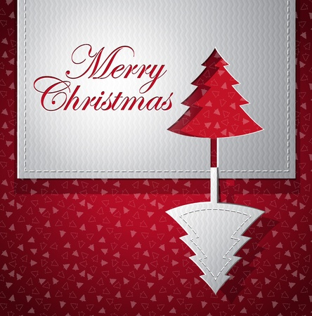 Christmas trendy greeting card - silver and red - paper cut vector illustration