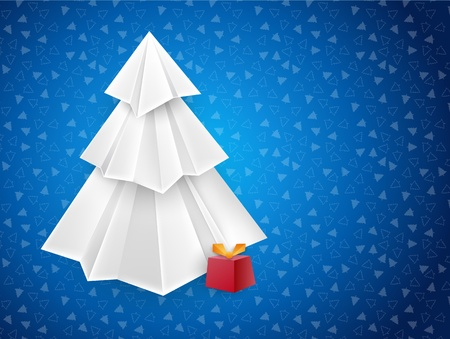 Christmas blue greeting card with white origami paper tree and a red present box Stock Vector - 11145767