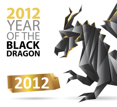 black dragon origami and a golden label - great design template for poster / placard / brochure cover / wallpaper / greeting card Stock Vector - 11145768
