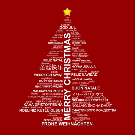 Christmas tree shape from letters - typographic composition - Merry Christmas in different languages Vectores