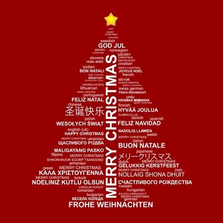 muerdago navideÃ?  Ã? Ã?±o: La forma del árbol de Navidad de las cartas - la composición tipográfica - Feliz Navidad en diferentes idiomas Vectores