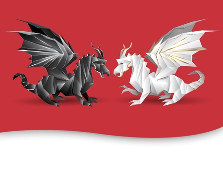 Two dragons as yin and yang symbol concept - black and white dragons